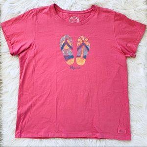 Life is Good Flip Flops Summer Graphic T-shirt